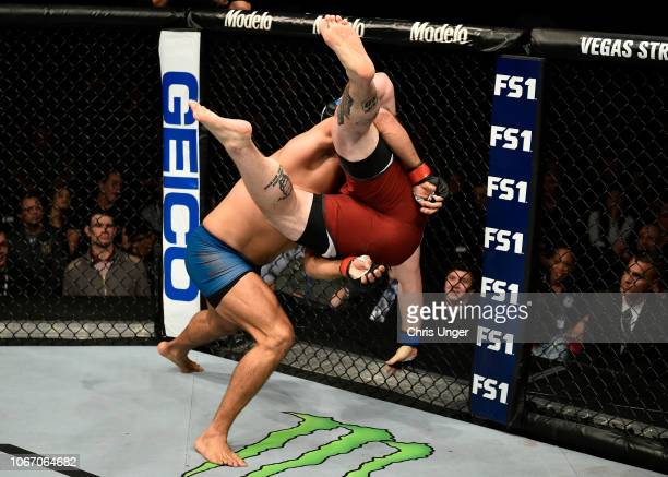 Juan Espino of Spain takes down Justin Frazier during The Ultimate Fighter Finale event inside The Pearl concert theater at Palms Casino Resort on...