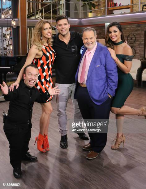 Juan Espinosa Lili Estefan Ricky Martin Raul de Molina and Clarissa Molina are seen on the set of El Gordo y La Flaca at Univision Studios on...