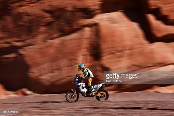 Juan Esteban Sarmiento Ceron of Colombia and KTM XRaid rides a 450 KTM bike in the Classe 21 Super Production during stage nine of the 2017 Dakar...
