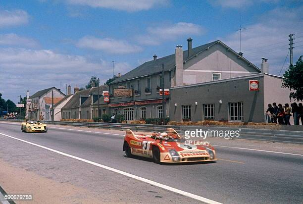 3 Juan Fernandez Bernard Cheneviere and Francisco Torredemer Porsche 908 at Les Hunaudieres on the Mulsanne Straight Le Mans 10 June 1973