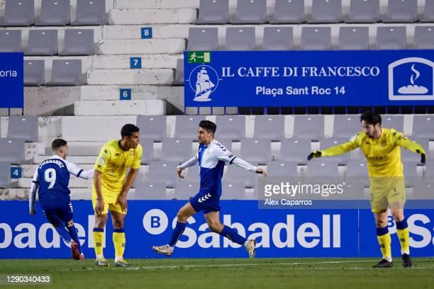 Juan Fernandez 'Ibiza' of CE Sabadell FC celebrates after scoring his team's first goalduring the LaLiga SmartBank match between CE Sabadell FC and...