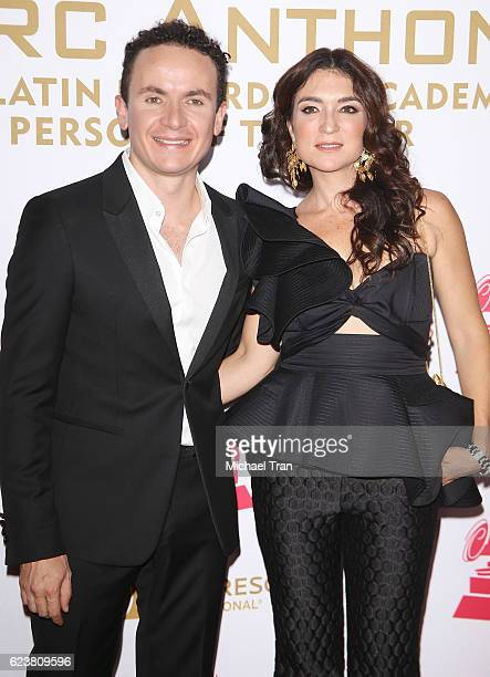 Juan Fernando Fonseca aka Fonseca and Juliana Posada arrive at the 2016 Latin GRAMMY Person of The Year honoring Marc Anthony held at MGM Grand...