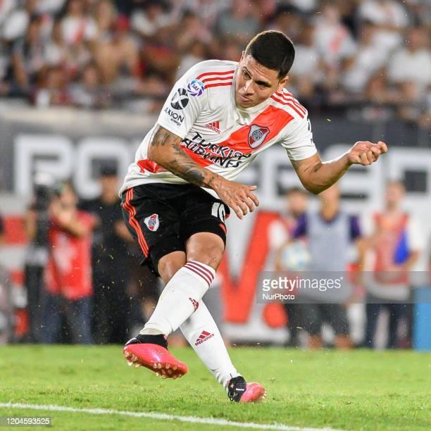 Juan Fernando Quintero during a Match between River Plate and Defensa y Justicia as part of Superliga 2019/20 at Antonio Vespucio Liberti Stadium, in...