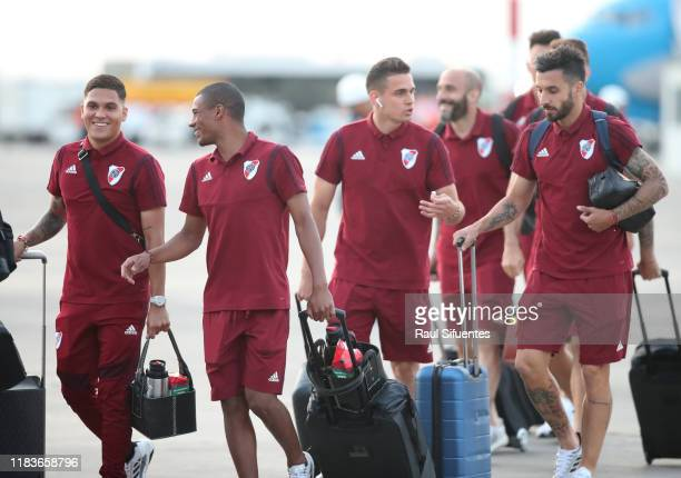 Juan Fernando Quintero Nicolas de la Cruz Rafael Santos Borre and Ignacio Scocco of River Plate arrive to Grupo Aereo 8 Terminal on November 20 2019...
