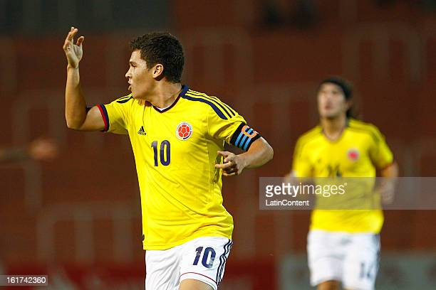 Juan Fernando Quintero of Colombia celebrates a goal against Paraguay during a match between Colombia and Paraguay as part of the 2013 South American...