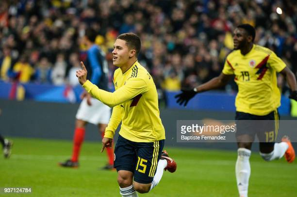 Juan Fernando Quintero of Colombia celebrates his goal during the International friendly match between France and Colombia on March 23 2018 in Paris...