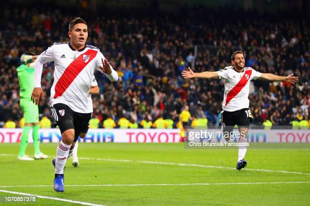 Juan Fernando Quintero of River Plate celebrates after scoring his sides second goal during the second leg of the final match of Copa CONMEBOL...
