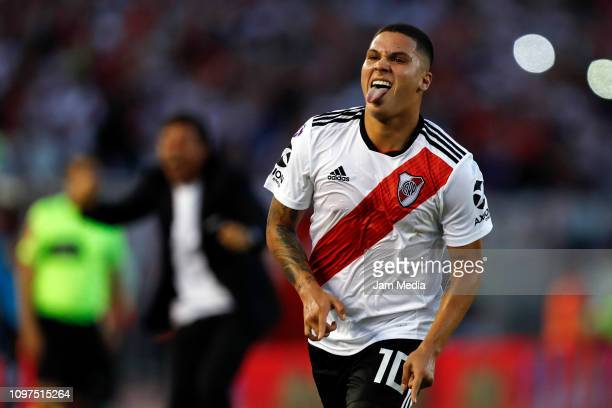 Juan Fernando Quintero of River Plate celebrates after scoring his side's first goal during a match between River Plate and Racing Club as part of...