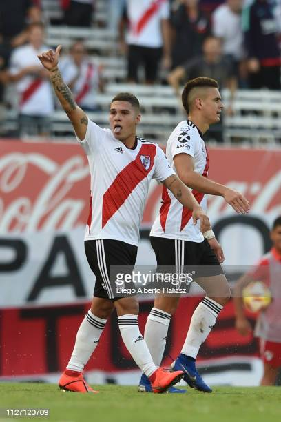 Juan Fernando Quintero of River Plate celebrates after scoring the first goal of his team during a match between River Plate and San Martin de...