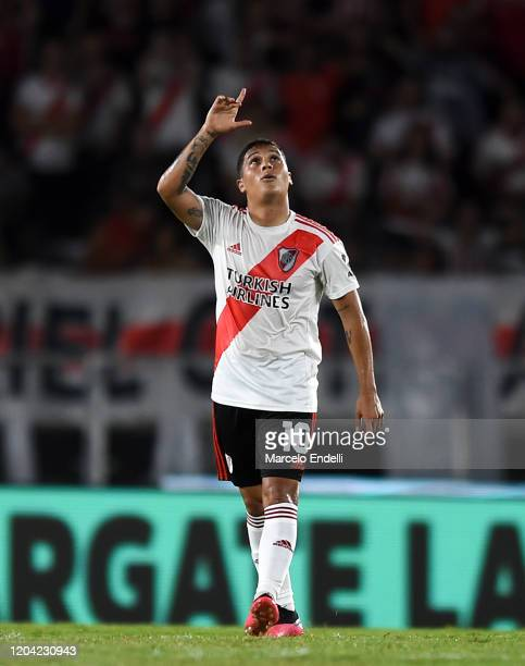 Juan Fernando Quintero of River Plate celebrates after scoring the first goal of his team via penalty during a match between River Plate and Defensa...