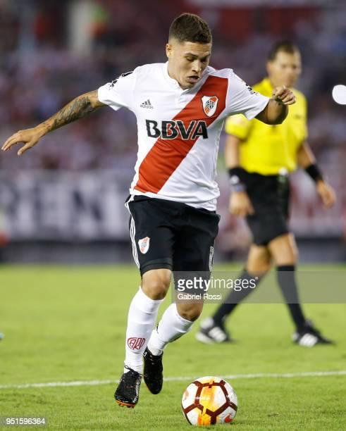 Juan Fernando Quintero of River Plate drives the ball during a match between River Plate and Emelec as part of Copa CONMEBOL Libertadores 2018 at...