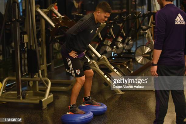 Juan Fernando Quintero of River Plate during a training session at CAT Alfredo Gottardi on May 21 2019 in Curitiba Brazil River Plate will face...