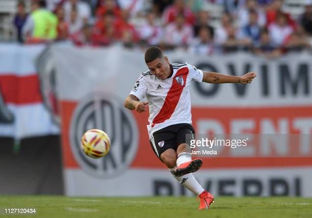 Juan Fernando Quintero of River Plate kicks the ball to score the first goal of his team during a match between River Plate and San Martin de Tucuman...