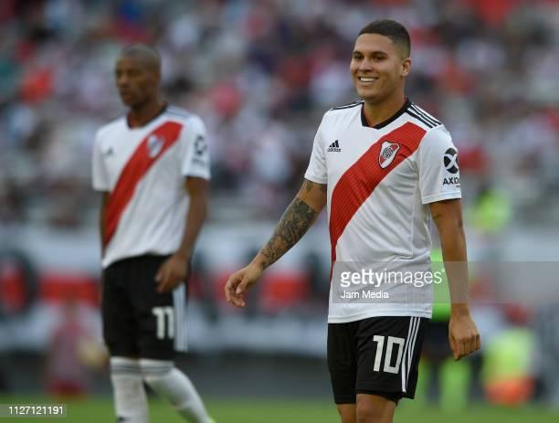Juan Fernando Quintero of River Plate smiles during a match between River Plate and San Martin de Tucuman as part of Superliga 2018/19 at Estadio...
