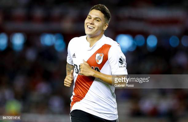 Juan Fernando Quintero of River Plate smiles during a match between River Plate and Rosario Central as part of Superliga 2017/18 at Estadio...