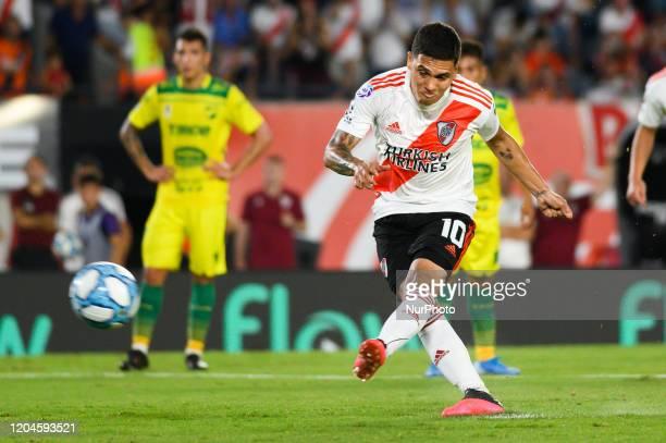 Juan Fernando quintero shoot the penalty during a match between River Plate and Defensa y Justicia as part of Superliga 2019/20 at Antonio Vespucio...