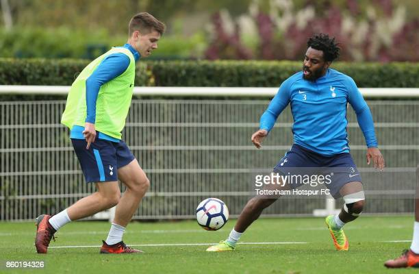 Juan Foyth and Danny Rose of Tottenham during the Tottenham Hotspur training session at Tottenham Hotspur Training Centre on October 11 2017 in...
