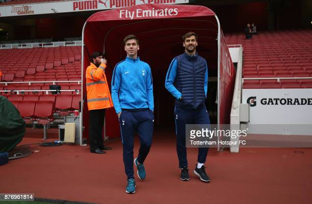 Juan Foyth and Fernando Llorente of Tottenham walk out prior to the Premier League match between Arsenal and Tottenham Hotspur at Emirates Stadium on...