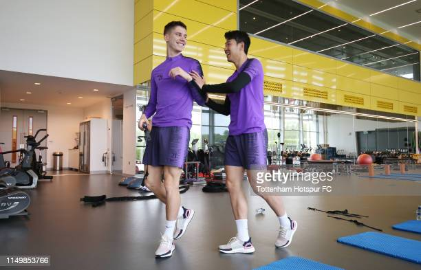 Juan Foyth and HeungMin Son of Tottenham Hotspur during the Tottenham Hotspur training session at Tottenham Hotspur Training Centre on May 17 2019 in...