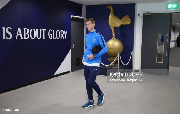 Juan Foyth arrives prior to the Premier League match between Tottenham Hotspur and Swansea City at Wembley Stadium on September 16 2017 in London...