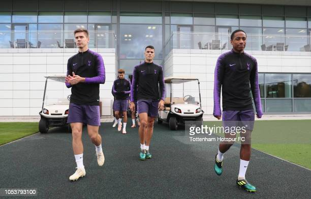 Juan Foyth Erik Lamela and Kyle WalkerPeters of Tottenham Hotspur during the Tottenham Hotspur training session at Tottenham Hotspur Training Centre...