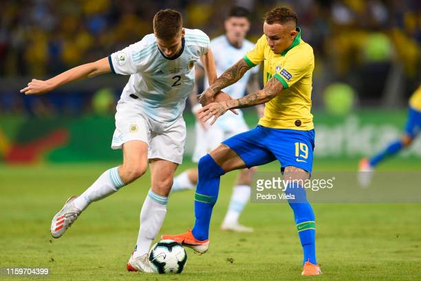 Juan Foyth of Argentina and Everton of Brazil compete for the ball during the Copa America Brazil 2019 Semi Final match between Brazil and Argentina...