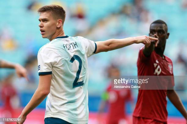 Juan Foyth of Argentina gestures during the Copa America Brazil 2019 group B match between Qatar and Argentina at Arena do Gremio on June 23 2019 in...