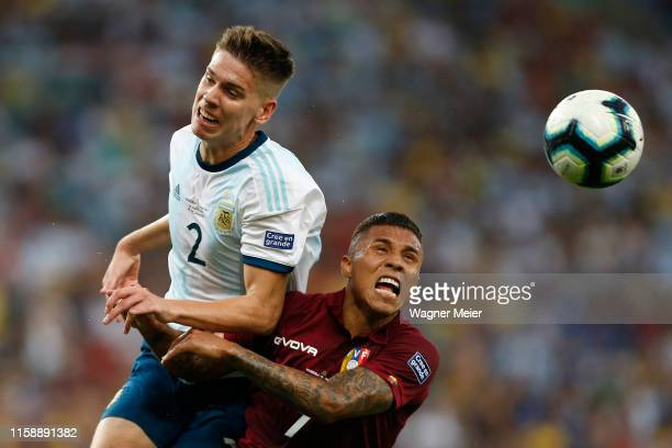 Juan Foyth of Argentina heads the ball against Darwin Machis of Venezuela during the Copa America Brazil 2019 quarterfinal match between Argentina...
