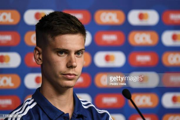 Juan Foyth of Argentina looks on during a press conference at Mineirao Stadium on June 18 2019 in Belo Horizonte Brazil