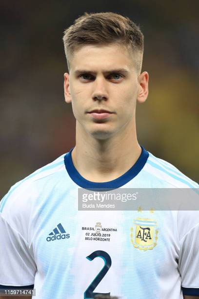 Juan Foyth of Argentina looks on prior to the Copa America Brazil 2019 Semi Final match between Brazil and Argentina at Mineirao Stadium on July 02...