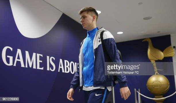 Juan Foyth of Tottenaham Hotspur arrives prior to the Premier League match between Tottenham Hotspur and West Ham United at Wembley Stadium on...
