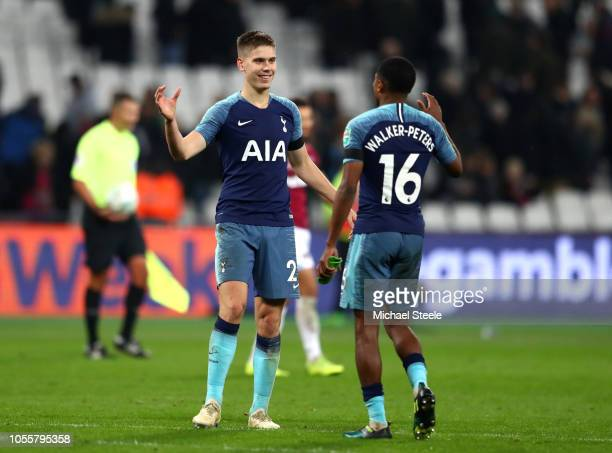 Juan Foyth of Tottenham Hotspur and Kyle WalkersPeters of Tottenham Hotspur celebrate victory after the Carabao Cup Fourth Round match between West...
