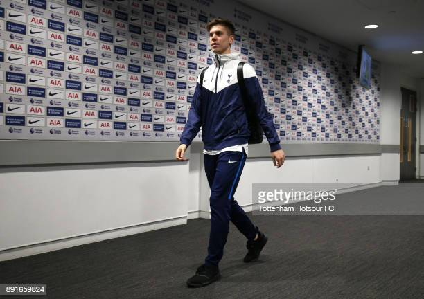 Juan Foyth of Tottenham Hotspur arrives during the Premier League match between Tottenham Hotspur and Brighton and Hove Albion at Wembley Stadium on...