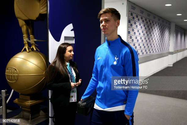 Juan Foyth of Tottenham Hotspur arrives prior to The Emirates FA Cup Third Round match between Tottenham Hotspur and AFC Wimbledon at Wembley Stadium...