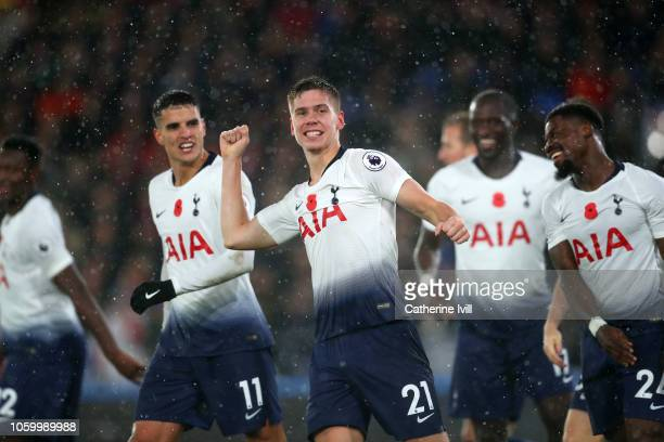 Juan Foyth of Tottenham Hotspur celebrates after scoring his team's first goal during the Premier League match between Crystal Palace and Tottenham...