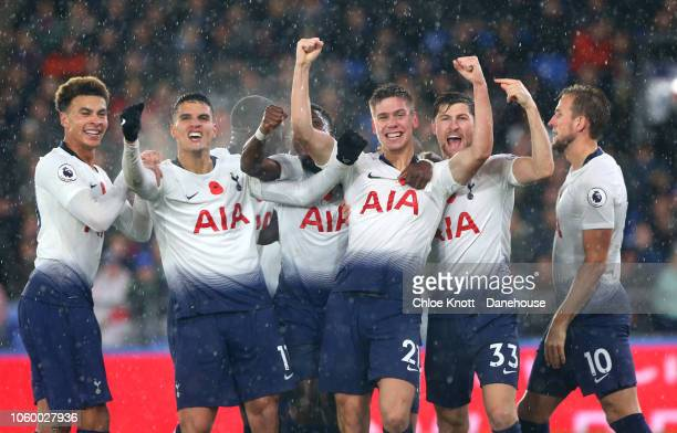 Juan Foyth of Tottenham Hotspur celebrates scoring this teams first goal during the Premier League match between Crystal Palace and Tottenham Hotspur...