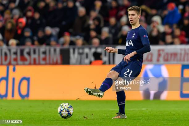 Juan Foyth of Tottenham Hotspur controls the ball during the UEFA Champions League group B match between Bayern Muenchen and Tottenham Hotspur at...