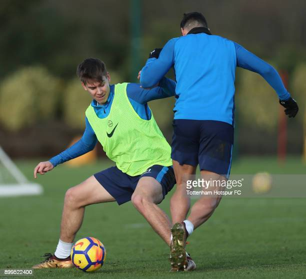 Juan Foyth of Tottenham Hotspur during the Tottenham Hotspur training session at Tottenham Hospur Training Centre on December 29 2017 in Enfield...