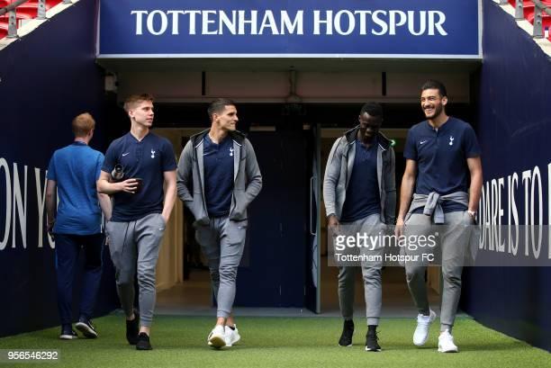 Juan Foyth of Tottenham Hotspur Erik Lamela of Tottenham Hotspur Davinson Sanchez of Tottenham Hotspur and Paulo Gazzaniga of Tottenham Hotspur...