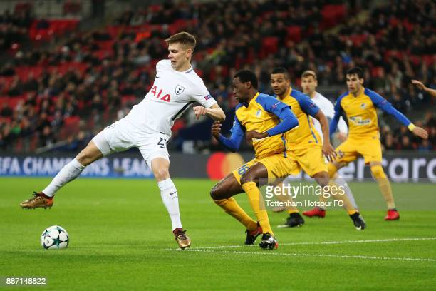 Juan Foyth of Tottenham Hotspur in action during the UEFA Champions League group H match between Tottenham Hotspur and APOEL Nicosia at Wembley...