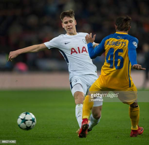 Juan Foyth of Tottenham Hotspur in action during the UEFA Champions League group H match between Tottenham Hotspur and APOEL Nikosia at Wembley...