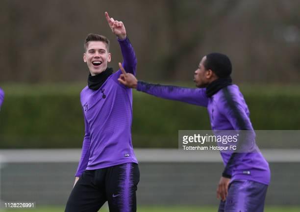 Juan Foyth of Tottenham Hotspur on February 08, 2019 in Enfield, England.