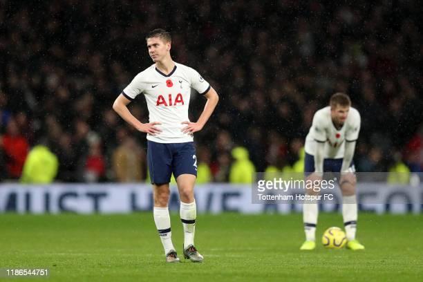 Juan Foyth of Tottenham Hotspur reacts after the Premier League match between Tottenham Hotspur and Sheffield United at Tottenham Hotspur Stadium on...