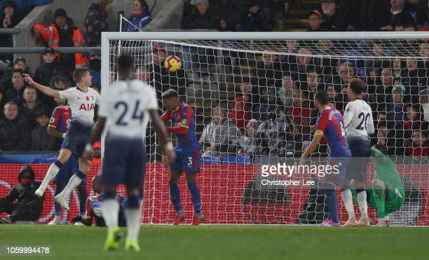 Juan Foyth of Tottenham Hotspur scores his team's first goal during the Premier League match between Crystal Palace and Tottenham Hotspur at Selhurst...