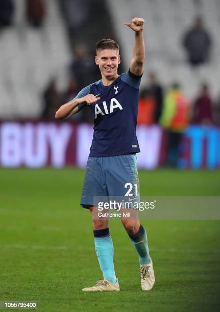 Juan Foyth of Tottenham Hotspur shows appreciation to the fans after the Carabao Cup Fourth Round match between West Ham United and Tottenham Hotspur...