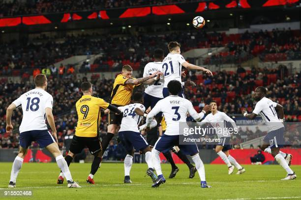 Juan Foyth of Tottenham Hotspur wins a header during a corner in the Fly Emirates FA Cup Fourth Round Replay match between Tottenham Hotspur and...