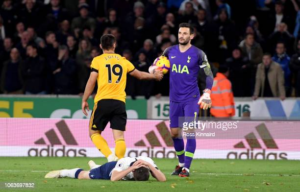 Juan Foyth of Tottenham reacts after giving away a second penalty during the Premier League match between Wolverhampton Wanderers and Tottenham...