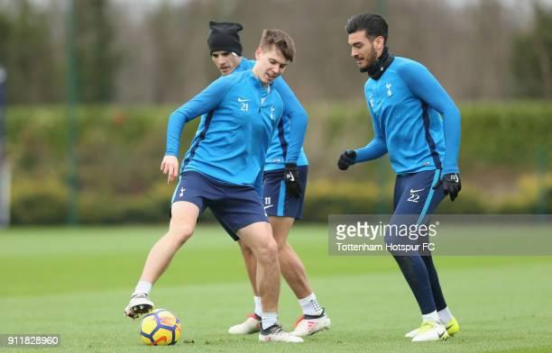 Juan Foyth Paulo Gazzaniga and Erik Lamela of Tottenham Hotspur during the Tottenham Hotspur training session at Tottenham Hotspur Training Centre on...
