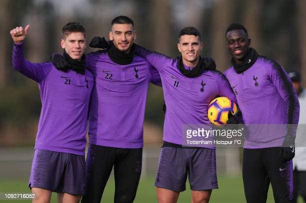 Juan Foyth, Paulo Gazzaniga, Erik Lamela and Davinson Sanchez of Tottenham Hotspur during the Tottenham Hotspur training session at Tottenham Hotspur...