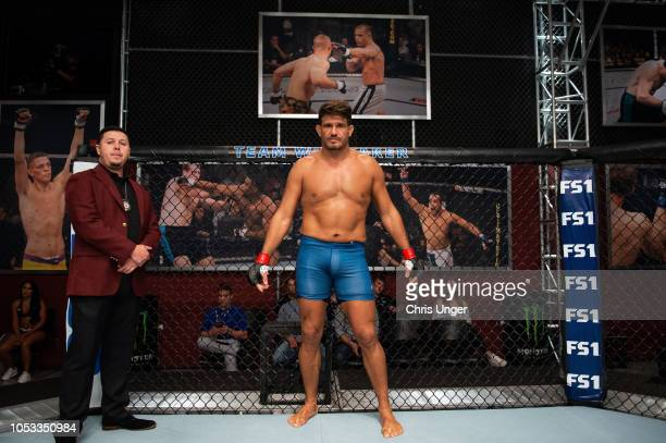 Juan Francisco Espino Diepa of Spain waits in his corner during the filming of The Ultimate Fighter Heavy Hitters on JULY 26 2018 in Las Vegas Nevada